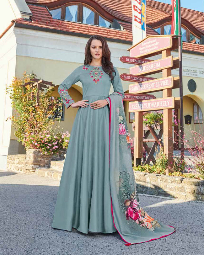 Bluish Gray Colored Partywear Embroidered Art Silk Gown With Muslin Silk Dupatta