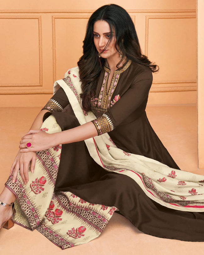 Innovative Brown Colored Partywear Embroidered Muslin Palazzo Suit