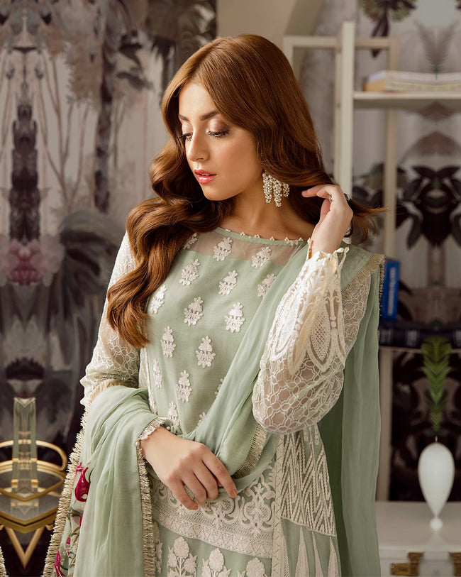 Light Green Colour Georgette Fabric Unstitched Designer Trouser and Dupatta