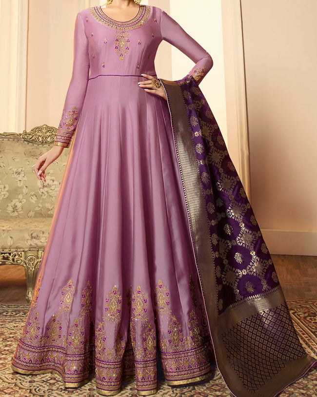 Light Purple Colored Partywear Embroidered Semi Stitched Anarkali Suit With Banarasi Dupatta