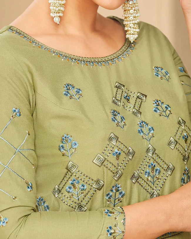 Elegant Olive Green Colored Partywear Embroidered Cotton Silk Gown