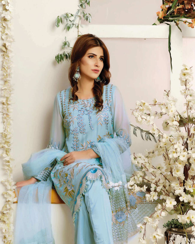 Attractive Sky Blue Color Fox Georgette Unstitched Pakistani Suit