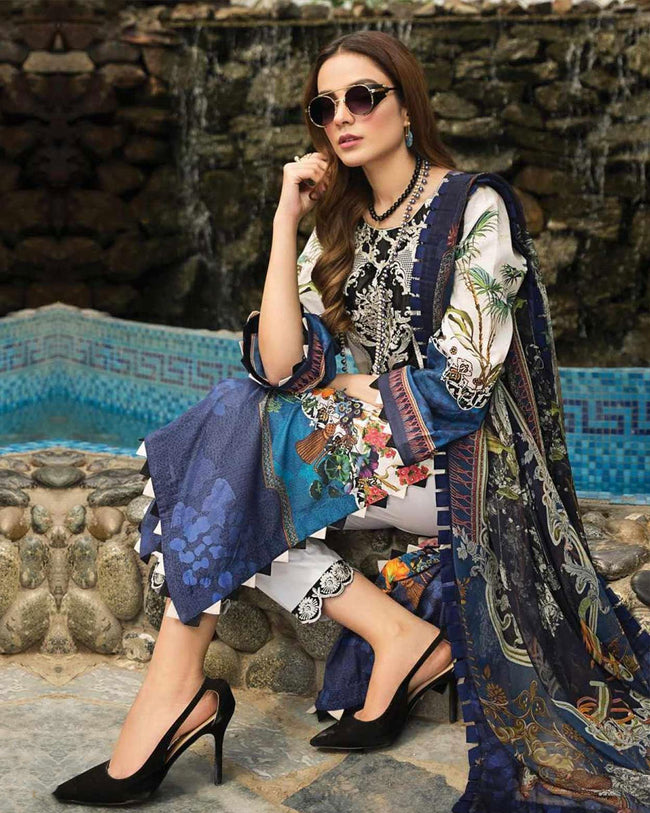 Marvellous White Color Jam Cotton Lawn Printed Dress Material Suit