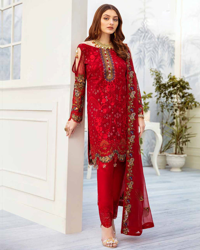 Beautiful Red Color Fox Georgette Pakistani Dress Material Suit