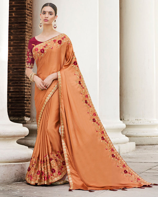 Dark Orange Color Festive Wear Silk Embroidery Work Saree With Maroon Blouse