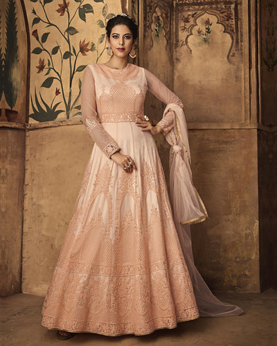 Peach Color Wedding Wear Net Semi Stitched Anarkali Suit