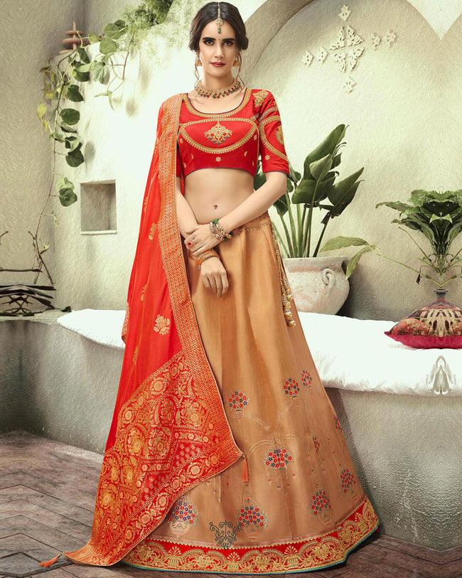 Red Color Bridal Wear Lehenga & Blouse with Dupatta