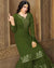 Dark Green Colored Mehandi Cermony Wear Semi Stitched Sharara Suit