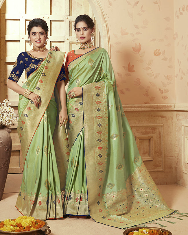 Green Color Party Wear Heavy Banarasi Silk Saree With Double Blouse