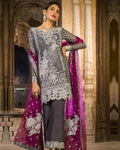 Jazzy Gray Color Unstitched Pakistani Palazzo Style Suit