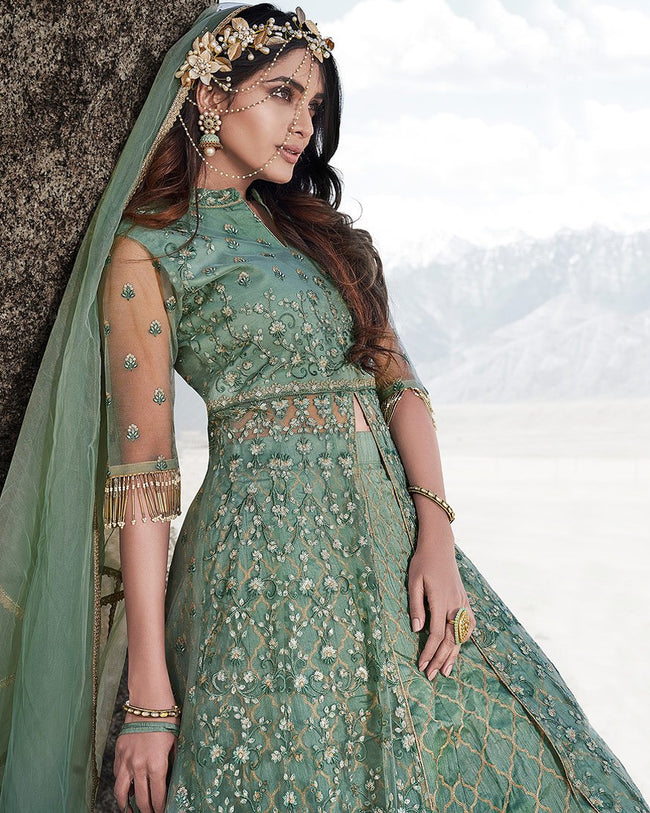 Olive Green Color Wedding Wear Net Semi Stitched Anarkali Gown Dress