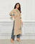 Beige Color Casual Wear Rayon Slub Palazzo Suit