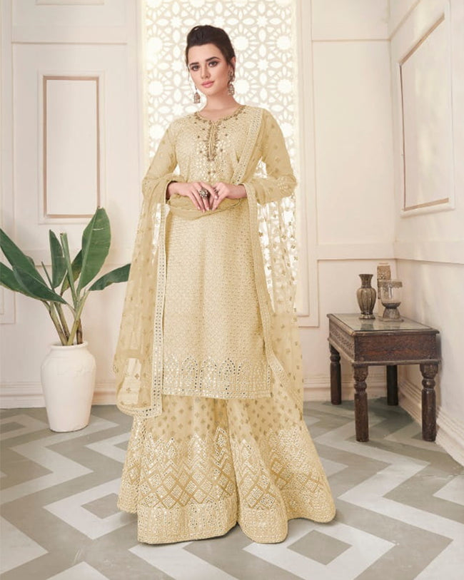 Off White Colored Party Wear Semi Stitched Sharara Suit