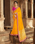 Mustard Yellow Color Banarasi Silk Designer Saree with Woven Pallu and Embroidered Border