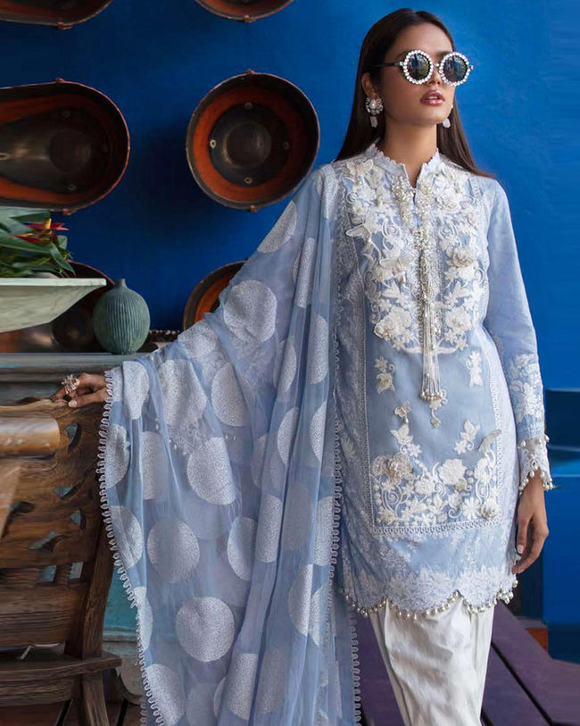 Light Blue Color Pure Cotton Printed Pakistani Embroidery Suit (Made in India)
