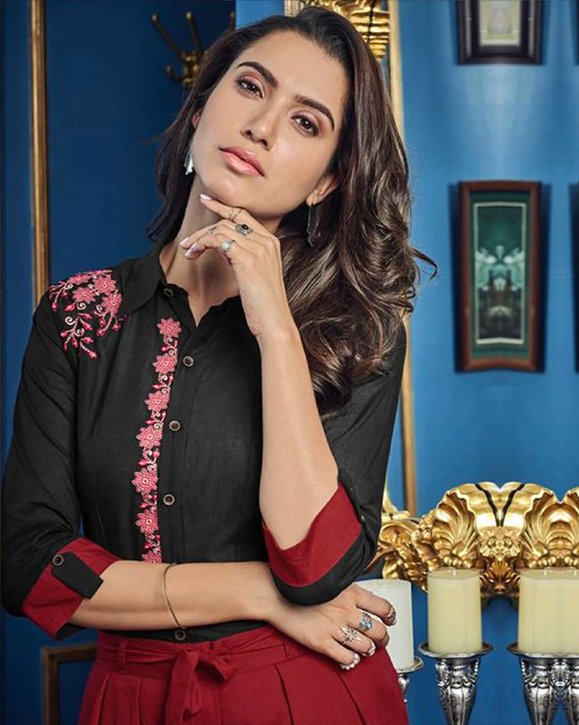 Black-Red Colored Casual Wear ReadyMade Palazzo Set