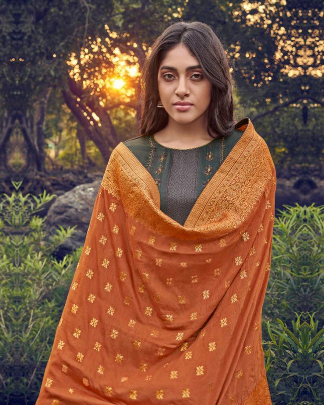 Green Color Pashmina Unstitched Pakistani Suit with Orange Silk Dupatta