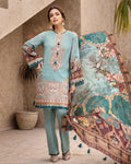 Sky Blue Color Jam Silk Digital Print Lawn Pakistani Suits (Made in India)