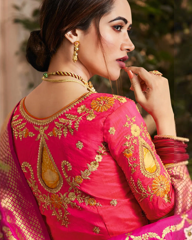 Magenta Pink Color Festive Wear Silk Jacquard Embroidery Lehenga Choli