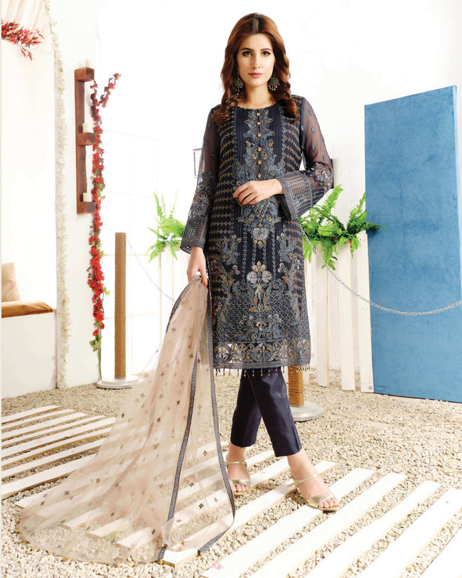 Jazzy Navy Blue Color Fox Georgette Unstitched Pakistani Suit