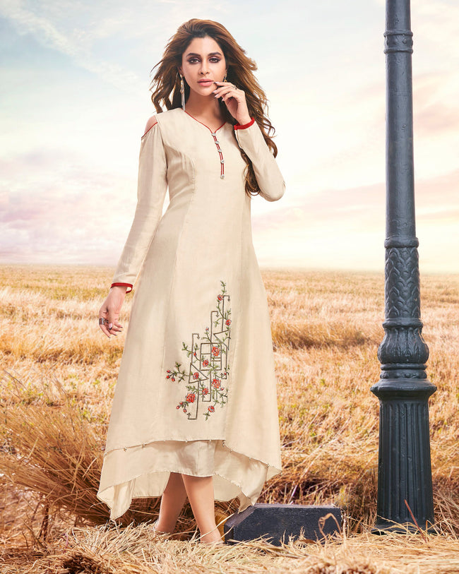 Off White Color Stitched Thread Work A-line Cotton Silk Kurti