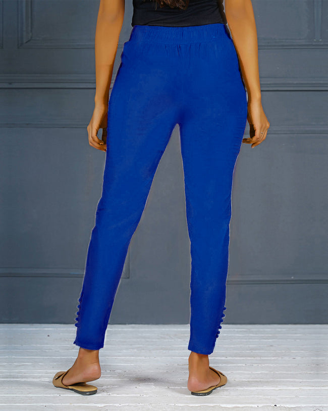Blue Solid Stretchable Narrow Fit Pant