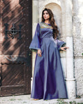 Blue Colored Partywear Embroidered Tapeta Silk Gown