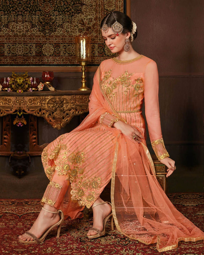 Lovely Orange Color Net 100% Original Pakistani UnStitched Suit