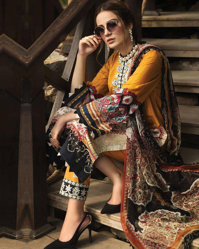 Yellow-Black Color Jam Cotton Lawn Printed Dress Material Suit