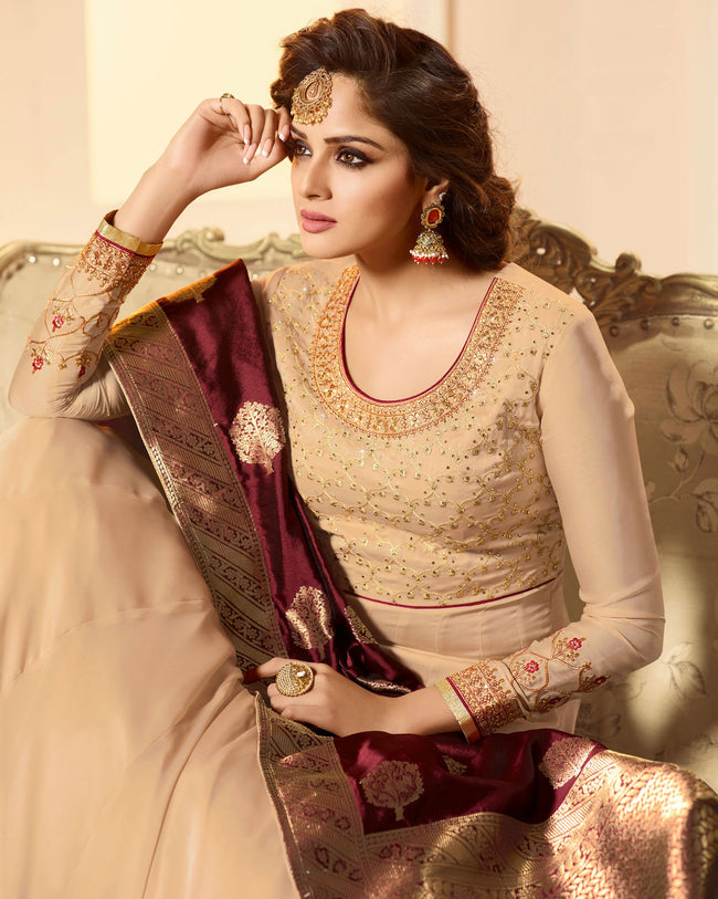 Beige Colored Partywear Embroidered Semi Stitched Anarkali Suit With Banarasi Dupatta