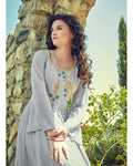 Light Grey Colored Partywear Embroidered Georgette Gown