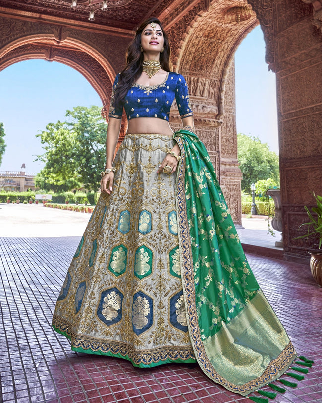 Blue-Green Color Party Wear Silk Jacquard Lehenga Choli