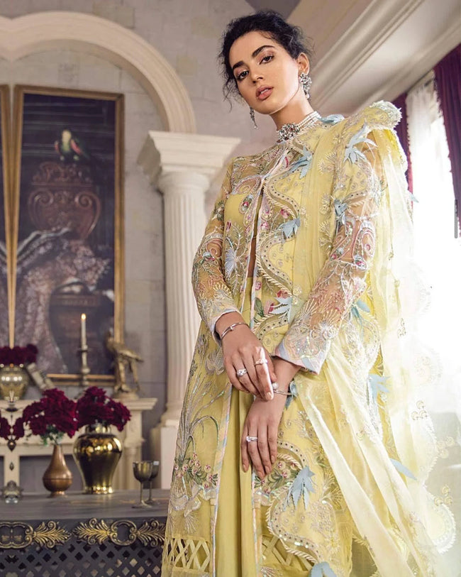 Yellow Color Bridal Wear Unstitched Pakistani Heavy Palazzo Suits
