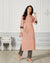 Peach Color Casual Wear Rayon Slub Palazzo Suit