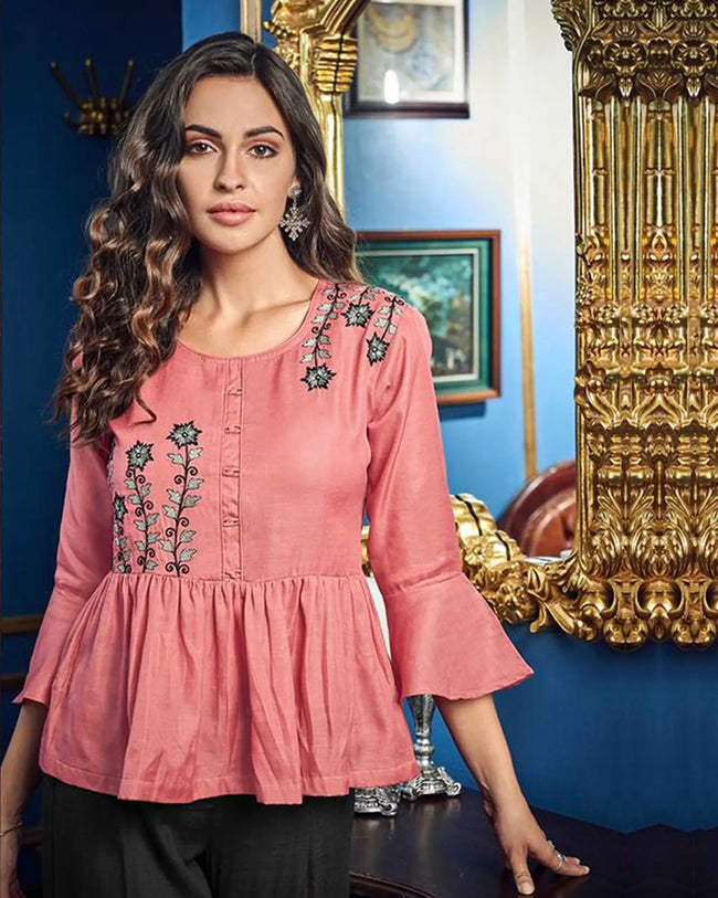Pink-Black Colored Casual Wear ReadyMade Palazzo Set