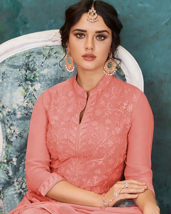 Pink Colored Georgette Embroidered Palazzo Suits