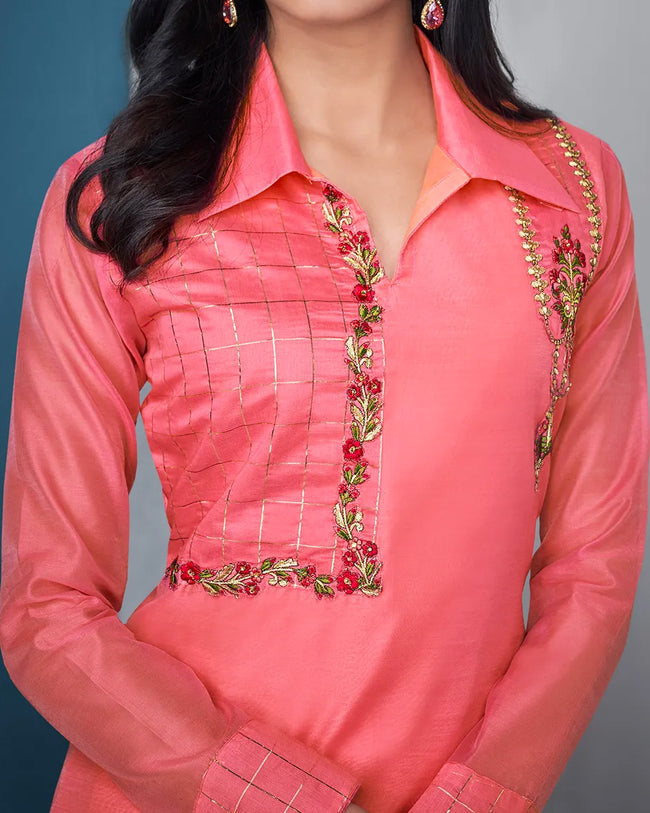 Pink Color Festive Wear Silk Palazzo Style Suits