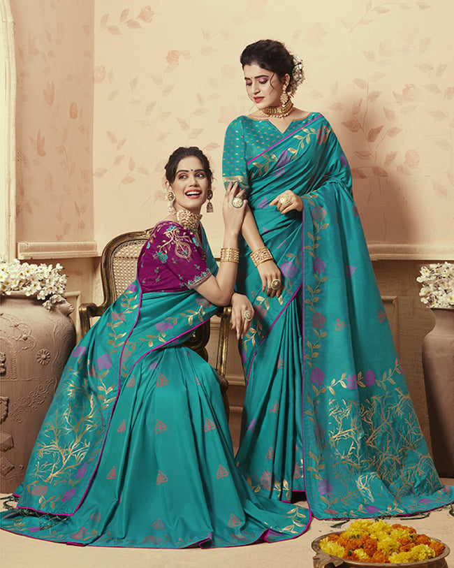 Teal Blue Color Party Wear Heavy Banarasi Silk Saree With Double Blouse
