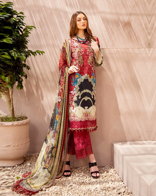 Magenta Pink Color Cotton Printed Pakistani Stylish Palazzo Suit (Made in India)