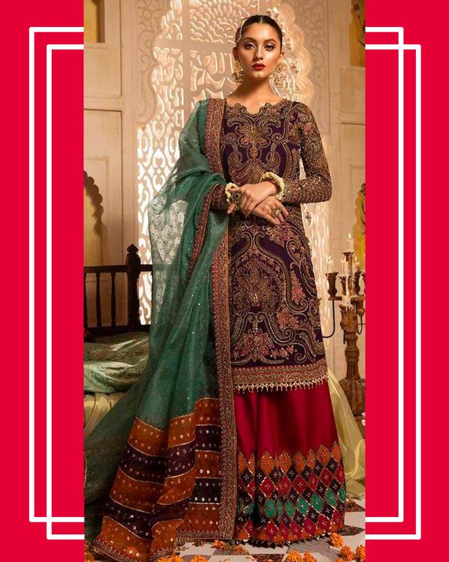 Wine Color NET Unstitched Pakistani Salwar Kameez Suits
