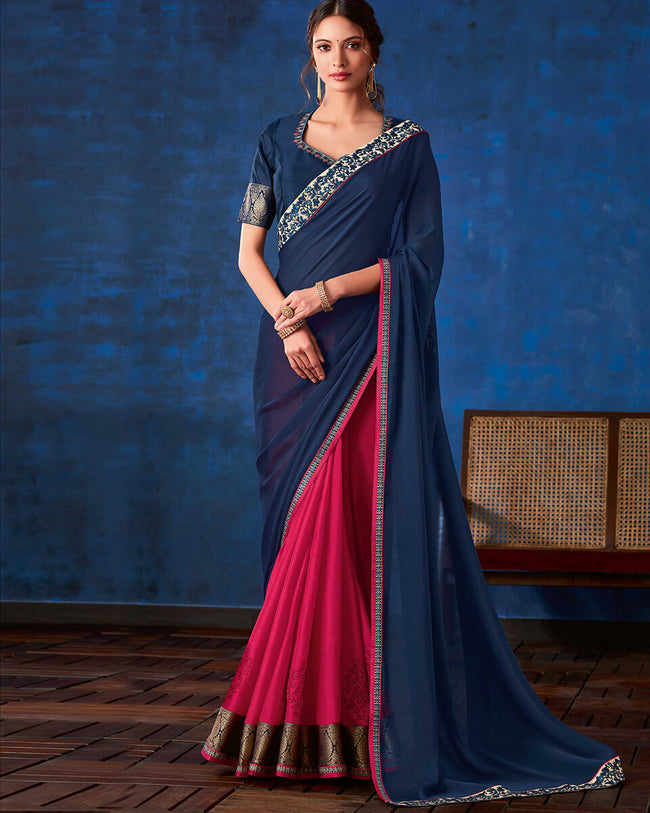 Navy Blue-Pink Color Fancy  Georgette With Lace Border Saree