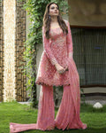 Pink Colored Partywear Embroidered Netted Unstitched Palazzo Suit