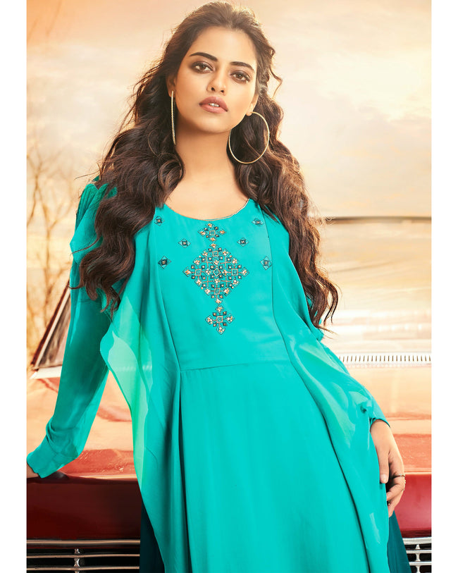 Aqua Blue Colored Partywear Embroidered Georgette Gown