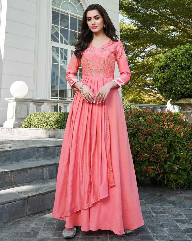Mesmerising Pink Colored Floral Embroidered Silk Gown