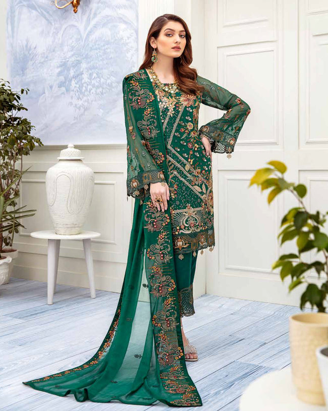 Magnetic Green Color Fox Georgette Pakistani Dress Material Suit