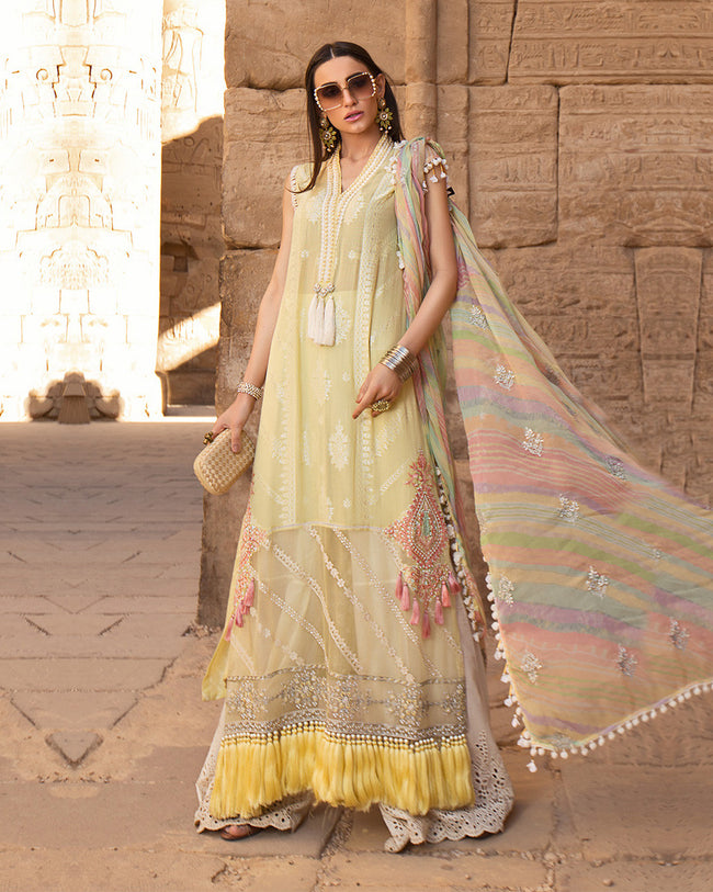 Yellow Colored Pakistani Lawn Cotton Fabric Dress Material Palazzo Suit