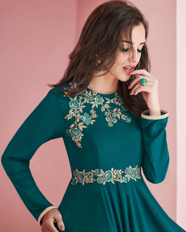 Teal Green Color Partywear Embroidered Faux Georgette Gown