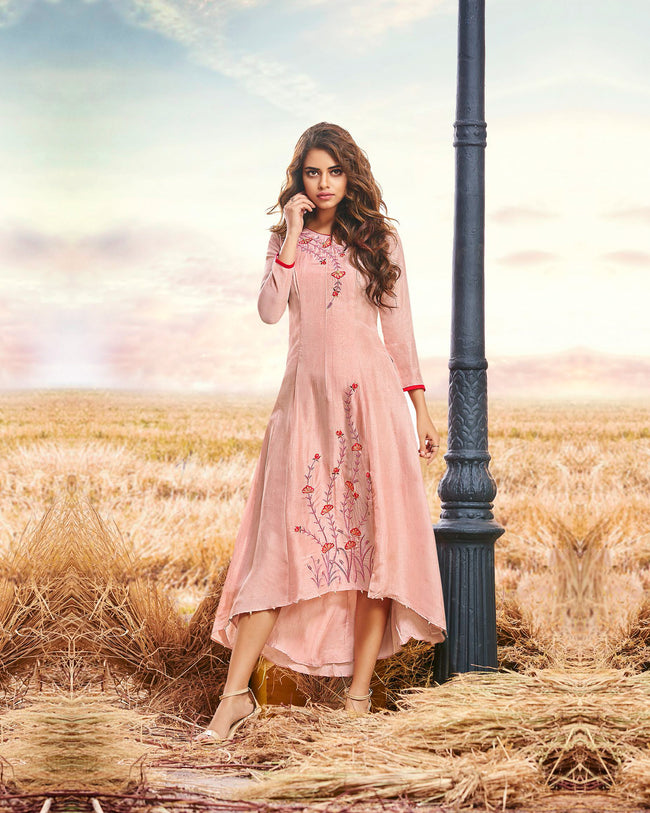 Peach Colored Partywear Embroidered Cotton Silk Fancy Kurti