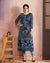 Blue Color Two Tone Rayon Flower Printed Kurti