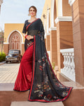 Black and Red Color Pure Georgette Designer Saree with Printed Blouse